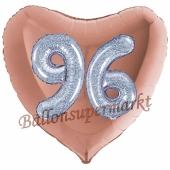 Herzluftballon Jumbo Zahl 96, rosegold-silber-holografisch mit 3D-Effekt zum 96. Geburtstag