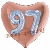 Herzluftballon Jumbo Zahl 97, rosegold-silber-holografisch mit 3D-Effekt zum 97. Geburtstag