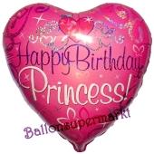 Holografischer Herzluftballon zum Geburtstag, Happy Birthday Princess ohne Helium-Ballongas