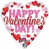 Herzluftballon aus Folie ,Happy Valentines Day mit kleinen Herzen