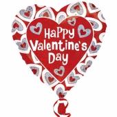 Holografischer Herzluftballon aus Folie ,Happy Valentines Day mit Herzrahmen, ohne Helium