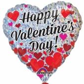 Happy Valentines Day, holografischer Herzluftballon aus Folie mit kleine Herzen inklusive Helium