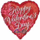 Happy Valentines Day, Herzluftballon aus Folie mit Ornamenten inklusive Helium