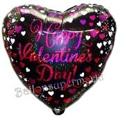 Pink Celebration Happy Valentines Day, holografischer Herzluftballon aus Folie inklusive Helium