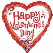 Roter Herzluftballon aus Folie zum Valentinstag mit der Aufschrift Happy Valentines Day auf weißem Herz.