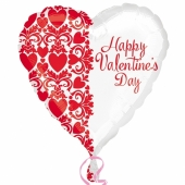 Happy Valentines Day, Herzluftballon ohne Helium/ Ballongas