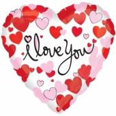 I Love You, Herzluftballon aus Folie mit Herzen inlusive Helium