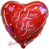 I Love You, Love Script, Herzluftballon aus Folie mit herzchen, ohne Helium