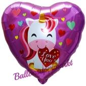 Love You Einhorn, Herzluftballon aus Folie mit herzchen, ohne Helium