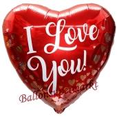 I Love You Rose Gold Hearts, Herzluftballon aus Folie mit herzchen, ohne Helium