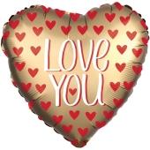Love You Satin Gold, Herzluftballon aus Folie mit herzchen, ohne Helium