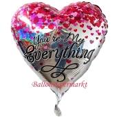You're My Everything, holografischer Herzluftballon aus Folie mit kleine Herzen inklusive Helium