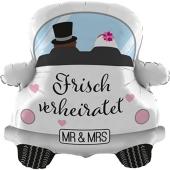 Luftballon Auto, Mr. and Mrs. zur Hochzeit, inklusive Helium