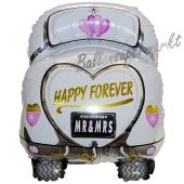 Luftballon Hochzeitsauto, Happy Forever, ohne Helium-Ballongas