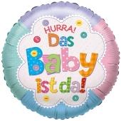 Hurra! Das Baby ist da! Luftballon aus Folie ohne Helium
