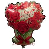 Luftballon aus Folie I Love You Rosenbouquet ohne Helium-Ballongas