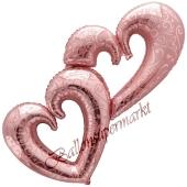 Interlocking Hearts Rose Gold, großer Luftballon aus Folie zur Hochzeit, ohne Helium