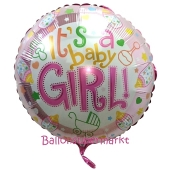 It's a Baby Girl Luftballon aus Folie mit Helium
