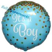 It's a Boy Glitter, holografischer Luftballon aus Folie mit Helium