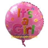 Luftballon mit Helium zu Geburt und Taufe eines Mädchens: It's a Girl, Knöpfe, Babyfläschchen