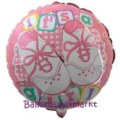 Luftballon ohne Helium zu Geburt und Taufe eines Mädchens: It's a Girl, Babyschühchen