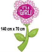Luftballon zu Geburt und Taufe eines Mädchens, Blume It's a Girl