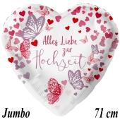 Jumbo Luftballon aus Folie, Alles Liebe zur Hochzeit, Schmetterlinge, ohne Helium