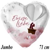 Jumbo Luftballon aus Folie zur Hochzeit, Ewige Liebe, ohne Helium