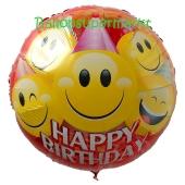 Großer runder Luftballon, Happy Birthday Smileys zum Geburtstag, Ballon ohne Helium