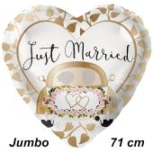 Jumbo Luftballon aus Folie zur Hochzeit, Just Married Auto Gold, ohne Helium