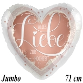 Jumbo Luftballon aus Folie, Alles Liebe zur Hochzeit, Satin, ohne Helium