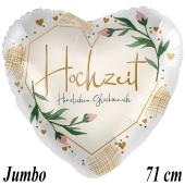 Jumbo Luftballon aus Folie, Hochzeit, Herzlichen Glückwunsch,Satin, ohne Helium