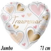 Jumbo Luftballon aus Folie zur Hochzeit, Traumpaar, Herzen, ohne Helium