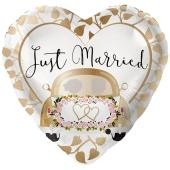Just Married Auto Gold, Herzballon zur Hochzeit, Folienballon inklusive Helium