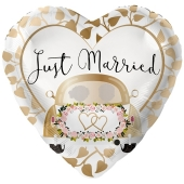 Folienballon zur Hochzeit, Just Married Auto Gold, ohne Helium