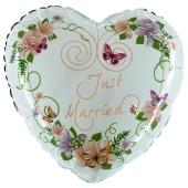 Just Married Heart Flowers Herzballon, Luftballon aus Folie zur Hochzeit
