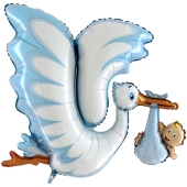 Luftballon zu Geburt und Taufe eines Jungen, Klapperstorch, blau, heliumgefüllt