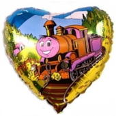 Herzluftballon aus Folie mit Lokomotive, ohne Helium