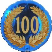 Lorbeerkranz 100, Luftballon aus Folie zum 100. Geburtstag, ohne Ballongas