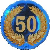 Lorbeerkranz 50, Luftballon aus Folie zum 50. Geburtstag, ohne Ballongas