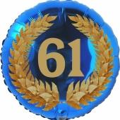 Lorbeerkranz 61, Luftballon aus Folie zum 61. Geburtstag, ohne Ballongas