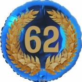 Lorbeerkranz 62, Luftballon aus Folie zum 62. Geburtstag, ohne Ballongas