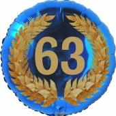 Lorbeerkranz 63, Luftballon aus Folie zum 63. Geburtstag, ohne Ballongas