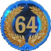 Lorbeerkranz 64, Luftballon aus Folie zum 64. Geburtstag, ohne Ballongas