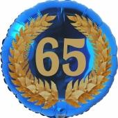 Lorbeerkranz 65, Luftballon aus Folie zum 65. Geburtstag, ohne Ballongas