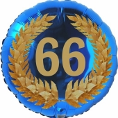 Lorbeerkranz 66, Luftballon aus Folie zum 66. Geburtstag, ohne Ballongas