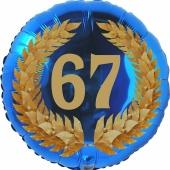 Lorbeerkranz 67, Luftballon aus Folie zum 67. Geburtstag, ohne Ballongas
