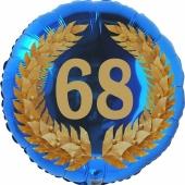 Lorbeerkranz 68, Luftballon aus Folie zum 68. Geburtstag, ohne Ballongas
