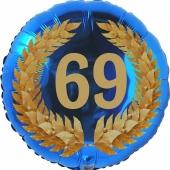 Lorbeerkranz 69, Luftballon aus Folie zum 69. Geburtstag, ohne Ballongas