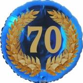 Lorbeerkranz 70, Luftballon aus Folie zum 70. Geburtstag, ohne Ballongas